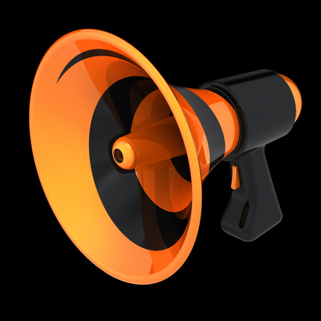 news blog megaphone communication, announcement loudspeaker, bullhorn orange stylish modern. message icon concept. 3d rendering, isolated on black background Stock Photo