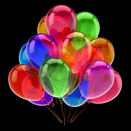 colorful happy birthday party balloons bunch. carnival decoration multicolored glossy. celebration greeting card design element. 3d rendering, isolated on black