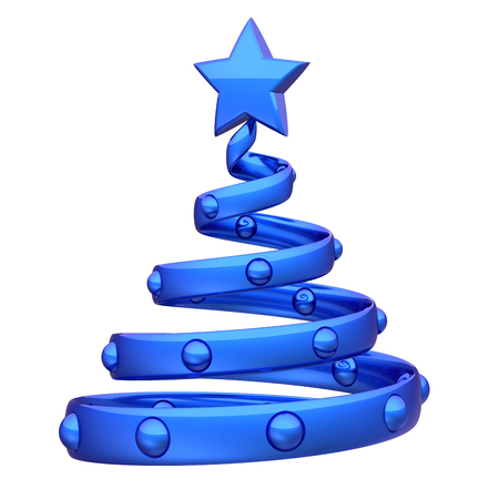 Abstract Christmas tree blue helix decoration involute. New Years Eve stylized fir souvenir adornment bauble. Xmas holidays greeting card design element. 3d rendering Stock Photo