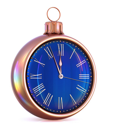 New Year's Day 12 clock face Christmas ball midnight time pressure countdown golden black. Last hour wintertime decoration ornament. Happy winter holidays beginning. 3d illustration