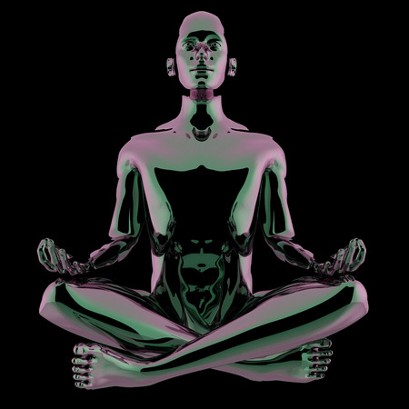 Man lotus pose stylized figure black polished glossy contrast. Human mental guru character. Peaceful nirvana yoga zen symbol. 3d illustration, isolated on black Archivio Fotografico
