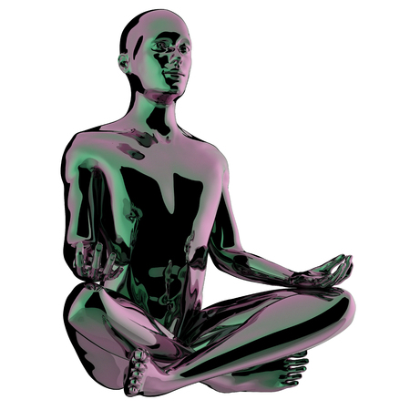 Yoga man meditating lotus pose stylized glossy statue. Mind body soul spirit balance icon concept. Human character peaceful nirvana symbol. 3d illustration isolated Archivio Fotografico