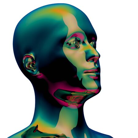 Head silhouette man stylized portret metallic polished green. Human face profile colorful creativity portret icon concept. 3d illustration, isolated