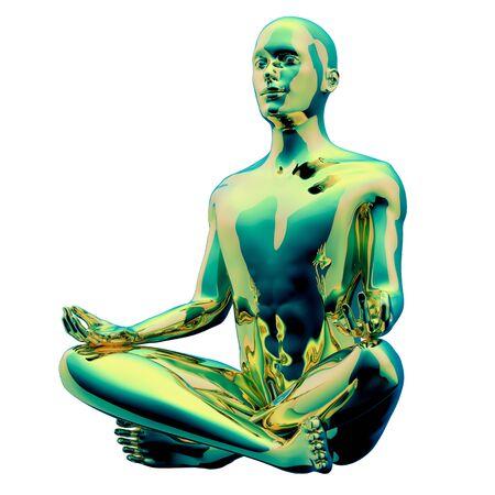 Like zen stylized man figure yoga lotus position golden green polished colorful reflection. Human mental guru person. Peaceful nirvana zen meditate symbol. 3d illustration, isolated