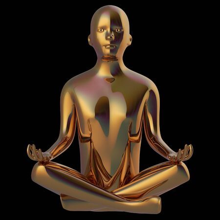 Golden yoga lotus pose man stylized figure. Human mental recreation metallic character. Peaceful spirit nirvana meditate symbol. 3d rendering, isolated on black
