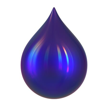 Drop of ink abstract blue glossy dye paint droplet form close-up. 3d rendering illustration, isolated over white