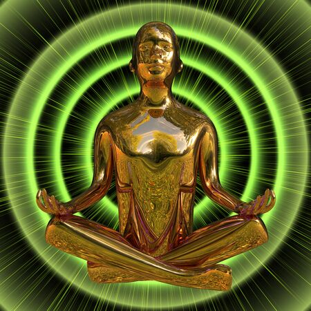 3d illustration of golden man figure lotus pose stylized on green burst flash. Male human character person meditate calm lifestyle nirvana zen like symbol Reklamní fotografie