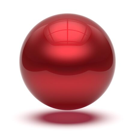 3D illustratie van bol ronde knop basisbal cirkel geometrische vorm rood. Druppel atoom element glanzende sprankelende object lege ballon