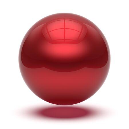 Ilustración 3d de la esfera de forma geométrica de círculo de bola básica de botón redondo rojo. Elemento de átomo de gota brillante objeto brillante globo en blanco