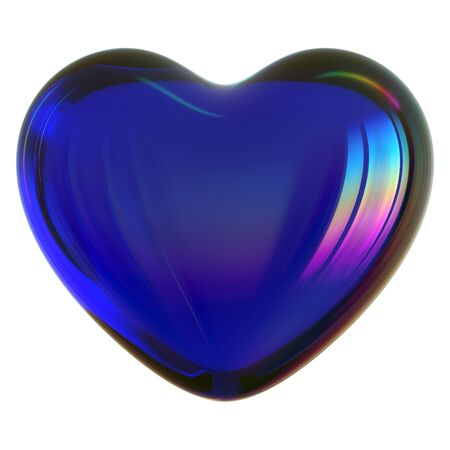 3d illustration of blue heart shape Love symbol glass translucent glossy. Valentine's Day greeting card design element Stock Photo