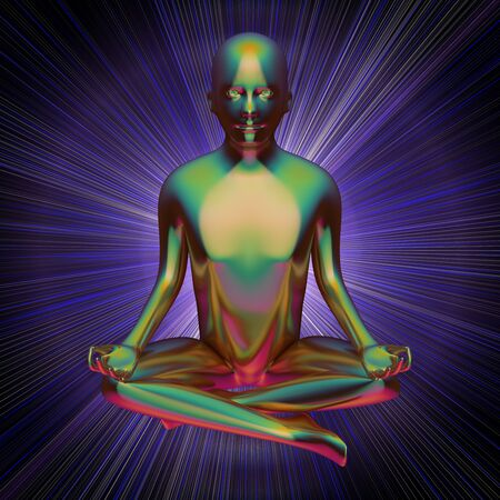 3d illustration of iron man yoga lotus pose figure stylized colorful on blue flash. Human character person meditate calm nirvana hypnosys zen like symbol Reklamní fotografie