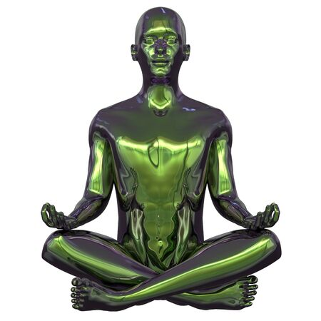 3d illustration of iron human mental guru zen character. Man lotus pose figure stylized green polished colorful reflections. Peaceful nirvana yoga position symbol
