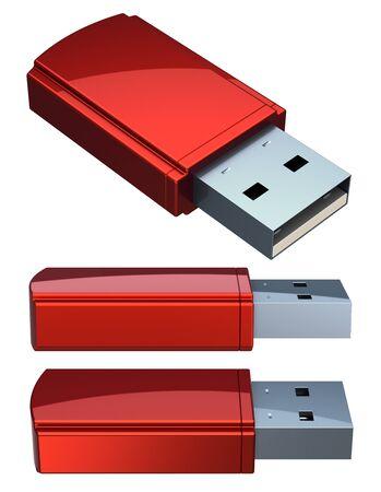 3d illustration of red USB flash drive memory stick set close-up. Storage dongle plug socket computer digital data key concept