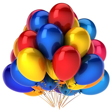 3d illustration of glossy helium balloons bunch birthday, carnival, party, event decoration multicolored red blue yellow shining