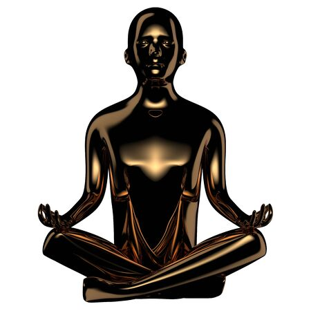 3d illustration of calm yoga man lotus pose stylized figure golden dark. Human mental guru character black glossy statue. Peaceful nirvana icon concept Foto de archivo