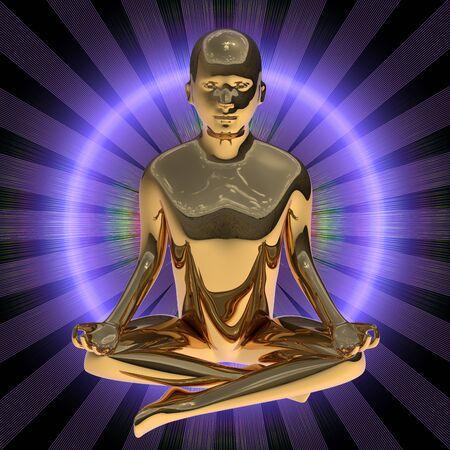 3d illustration of yoga man figure lotus pose stylized golden body flash energy rays. Peaceful nirvana meditate relaxation symbol. Human mental guru character