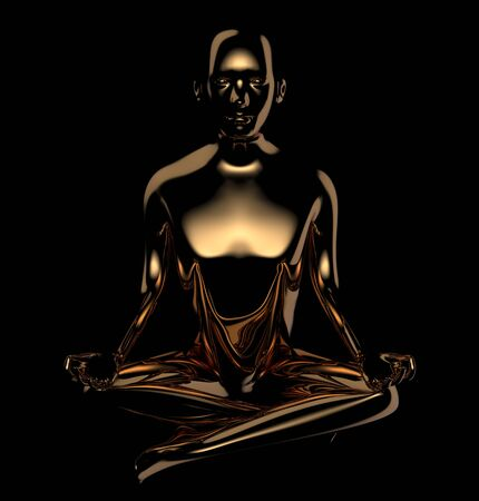 3d illustration of yoga man lotus position stylized figure golden dark contrast. Human mental guru character statue. Peaceful nirvana icon concept. Isolated on black