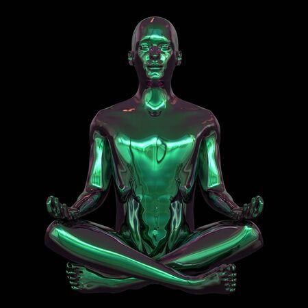 Portrait of iron human mental guru zen-like character. Man lotus pose figure stylized green polished. Peaceful nirvana yoga position symbol. 3d rendering