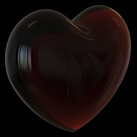 Black bad heart shape symbol dark translucent like oil drop. Toxic dirty poisoning love funny icon concept. 3d rendering, isolated on black