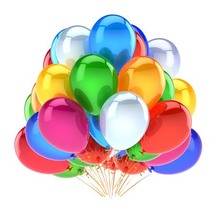 Happy birthday balloons big bunch green white blue red violet yellow. Party event decoration multicolored glossy. Carnival celebration symbol colorful. 3d rendering