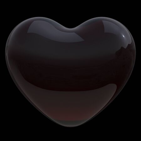 Dirty heart shape black symbol dark poison translucent glossy. Toxic love poison icon concept. 3d rendering, isolated on black 版權商用圖片