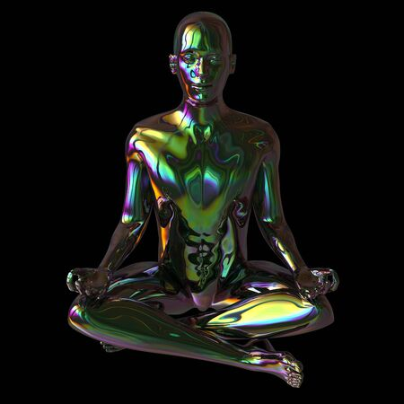 man portrait yoga lotus pose figure stylized green polished colorful reflections character. Human person meditate calm nirvana zen-like icon concept. 3d rendering