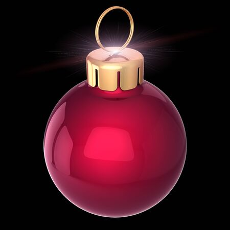 Xmas ball Christmas bauble New Years Eve decoration red golden shining. 3d illustration isolated on black