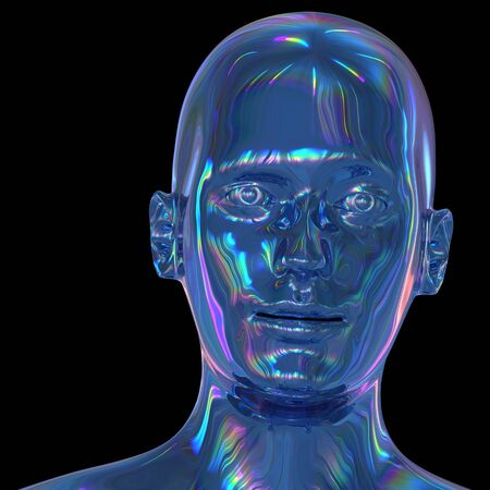 Android head iron cyborg man stylized portrait polished blue metallic. Human robot face iron shining reflections colorful avatar concept. 3d rendering on black Imagens