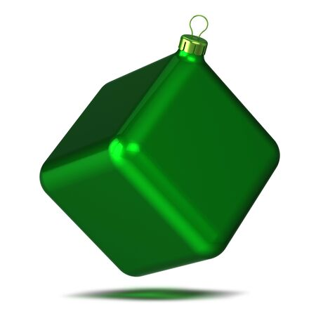 Christmas cube ball green New Year souvenir decoration green glossy. Happy New Year Merry Xmas bauble funny odd ugly. 3d illustration