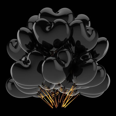 Balloons black bunch heart shaped. Love party dark helium balloon celebrate decoration. 3d rendering. Isolated on black