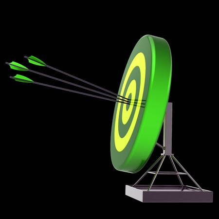 Green target arrows success shooting impact. Accuracy sniper hitting of bulls eye. Lucky business sport efficiency concept. 3d rendering over black Stock fotó