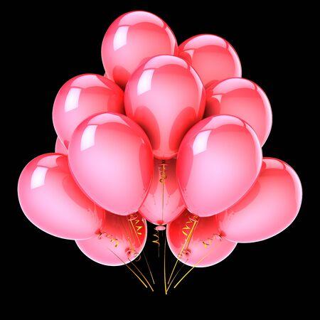 Pink love party balloon bunch. Birthday, wedding, honeymoon, marriage event decoration red. Valentine's Day honeymoon romantic symbol. 3d rendering over black