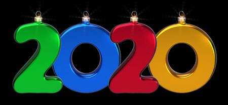 New Year 2020 big twenty number as Xmas baubles colorful sparkling. Happy New era anniversary celebration banner. 3d illustration isolated on black