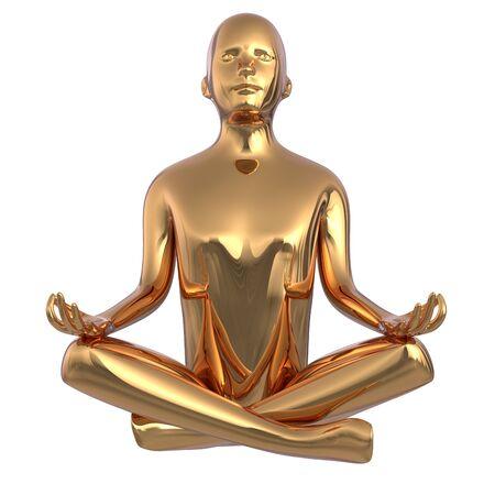 Gold statue man yoga lotus position stylized iron figure. Human mental recreation person metallic. Peaceful calm spirit nirvana harmony symbol. 3d rendering