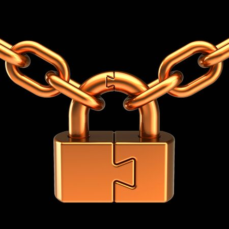 Gold lock padlock security data chain join safeguard. Puzzle link closed security protection concept iron parts. Access secret system icon. 3d rendering on black
