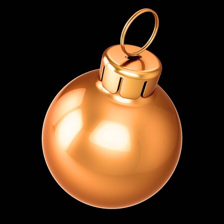 Golden bauble Christmas ball New Years Eve decoration glossy close-up. 3d rendering isolated on black Banque d'images