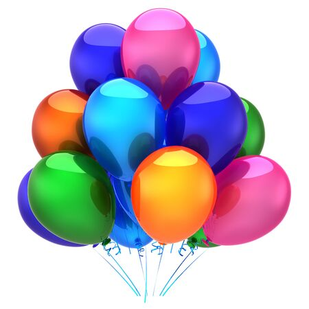 balloons bunch colorful party birthday decoration beautiful celebrate event symbol. 3d illustration Banque d'images