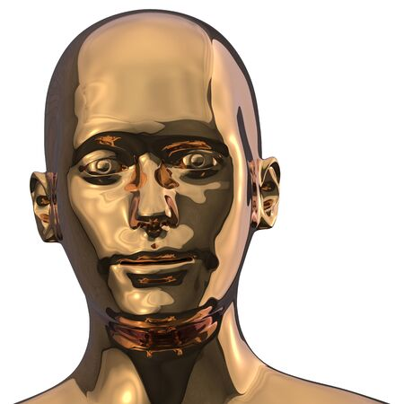 Head of golden man android face iron polished solid. Futuristic humanoid robot character close-up portrait metallic. 3d illustration
