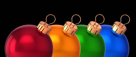 Christmas balls banner four red orange green blue in a row. New Years Eve Merry Xmas bauble decoration glossy. 3d illustration. Isolated on black
