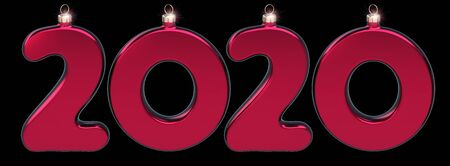 New Year 2020 twenty number as Christmas baubles red sparkling. Happy New Years Eve anniversary celebration banner. 3d illustration on black Фото со стока