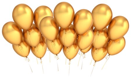 Golden party balloons group banner horizontal. Happy birthday event decoration helium balloon cluster gold metallic. 3d illustration Stock Photo