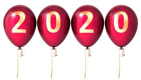 Happy New Year party balloons 2020 anniversary red golden sparkling. Merry Christmas and HNY banner number twenty background. 3d rendering Banque d'images