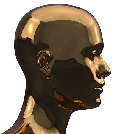 Gold man head silhouette stylized metallic polished. Iron human profile contrast creativity icon concept. 3d rendering Banque d'images