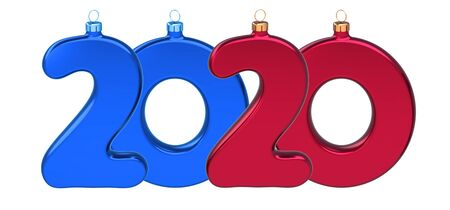 Happy New Year 2020 big twenty number as Xmas baubles red blue. New era anniversary celebration banner. 3d illustration Фото со стока