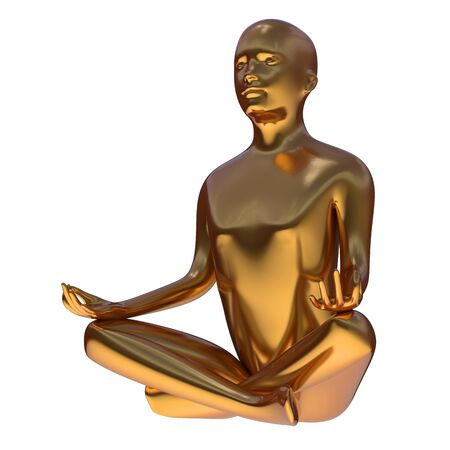 Gold yoga lotus position stylized figure side-view. Human mental recreation character metallic. Peaceful spirit nirvana meditate icon concept. 3d rendering