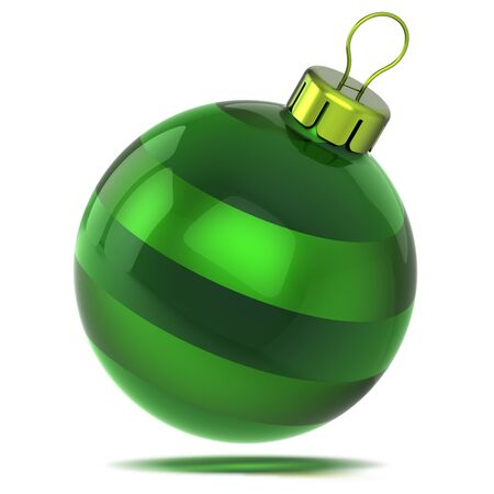 Green Christmas ball shiny decor shining. Happy New Year bauble glossy. Xmas decoration sphere hanging adornment modern traditional symbol. 3d illustration