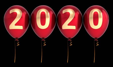 Background 2020 New Year party balloons twenty anniversary red gold colorful. Merry Christmas New Years Eve banner. 3d rendering. Isolated on black