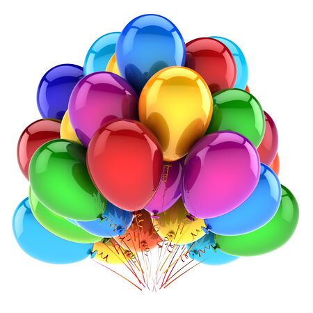 Event party balloons bunch. birthday decoration colorful. Happy New Year Christmas Xmas celebration holiday symbol. 3d rendering