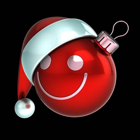 Smiling Christmas ball funny Santa hat face stylized decoration red. Happy New Year bauble emoticon. Merry Xmas souvenir. 3d rendering isolated on black