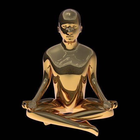 Lotus pose golden yoga man stylized figure polished solid. Human mental guru zen character gold statue. Peaceful nirvana meditate calm symbol. 3d rendering 写真素材